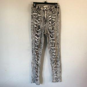 Aphrodite ripped high waist acid wash jeans black